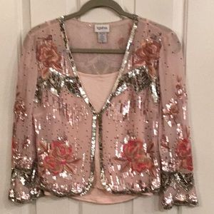 Pink sequence top with pink camisole